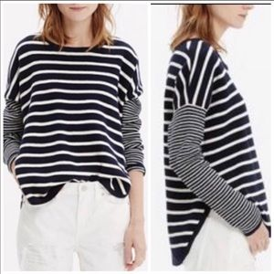 Madewell Striped  Navy blue / White oversized top